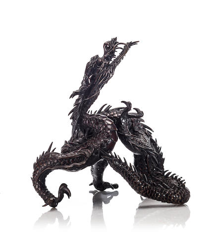 A bronze sculpture of a coiling dragon Meiji period (late 19th century)
