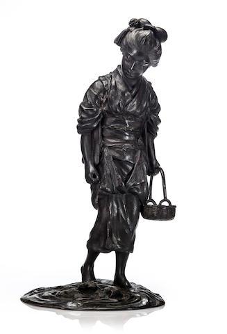 Bronze figure of a Geisha