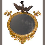 A Federal parcel ebonized giltwood mirror