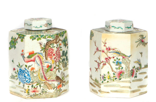 A large pair of Chinese porcelain tea caddies