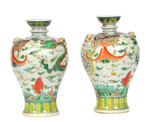 A pair of Chinese polychrome vases