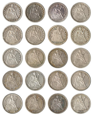 Collection of 19th Century Dimes, 1831-1891-S