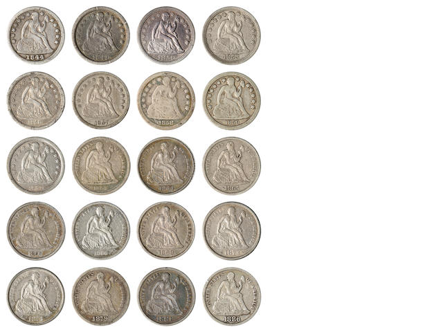 Collection of 19th Century Dimes, 1831-181-S