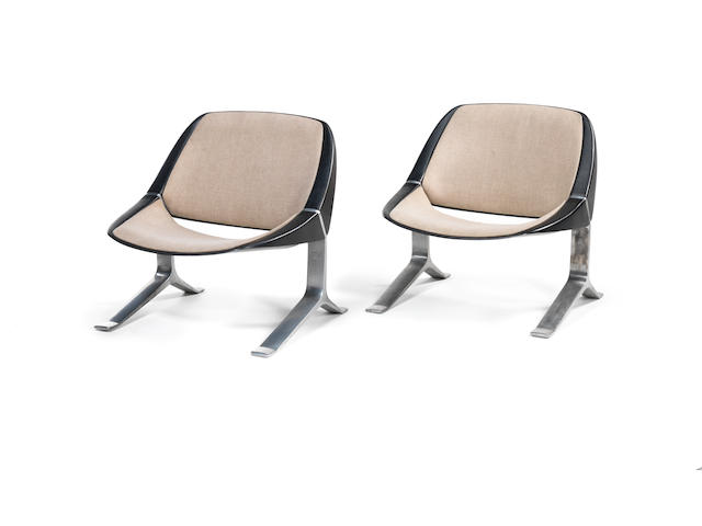 A pair of aluminum and  upholstered chairs Knut Hesterburg c 1970