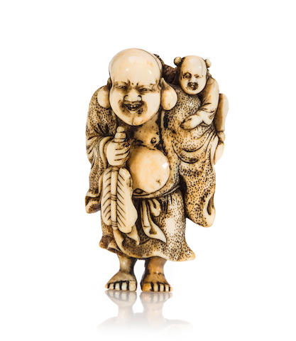 A Kyoto school ivory netsuke of Hotei By Masanao, Edo period (18th century)