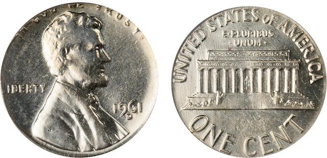 1961-D 1C AU58 Mint Error PCGS