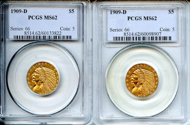 1909-D $5 MS62 PCGS (2)
