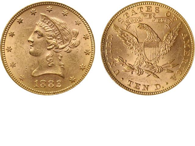 1882 $10 MS62 NGC