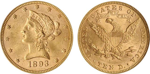 1893 $10 MS62 NGC