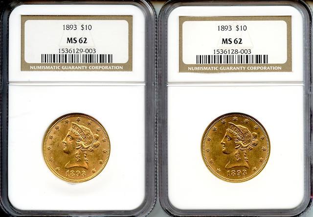1893 $10 MS62 NGC (2)