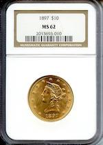 1897 $10 MS62 NGC