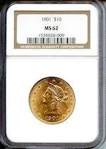 1901 $10 MS62 NGC