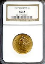 1907 Liberty $10 MS62 NGC