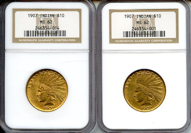 1907 Indian $10 MS62 NGC (2)