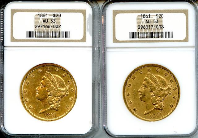1861 $20 AU53 NGC (2)
