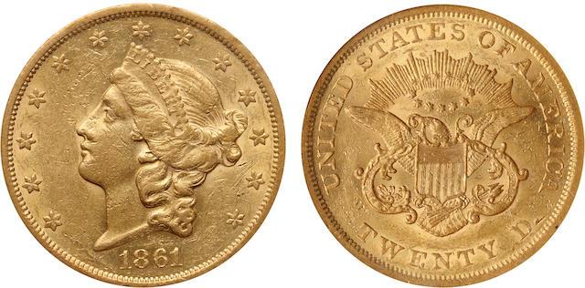 1861 $20 AU53 NGC