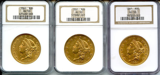 1861 $20 AU53 NGC (3)