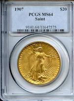 1907 Arabic $20 MS64 PCGS