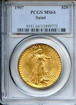 1907 Saint-Gaudens $20 Arabic Numerals MS64 PCGS