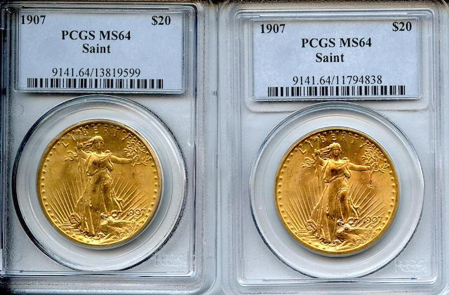 1907 Saint-Gaudens $20 Arabic Numerals MS64 PCGS (2)