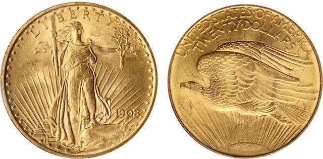 1908 No Motto $20 MS64 NGC