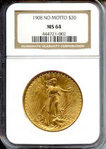 1908 No Motto $20 MS64 NGC
