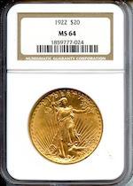 1922 $20 MS64 NGC