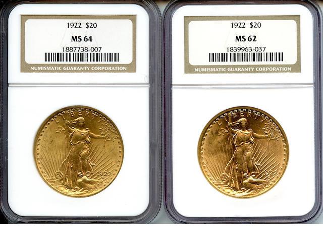 1922 $20 MS64 NGC (2)