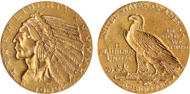 1909-D $5 MS62 PCGS
