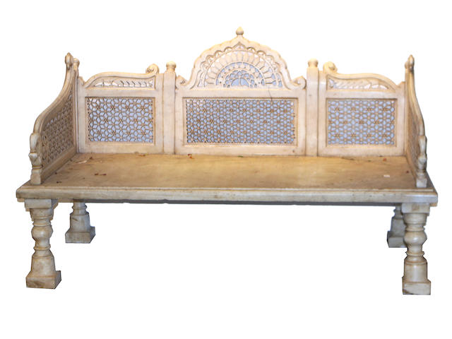 An Indian carved marble day bed