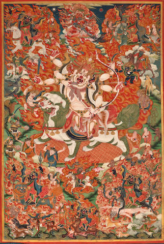 A thangka of Pehar Distemper on cloth, Tibet, 19th century