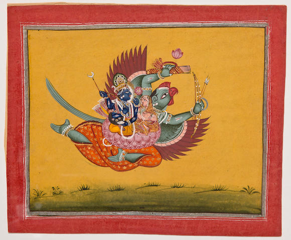 Illustration to the Bhagavata Purana: Vishnu and Satyabhama on Garuda Opaque watercolor and gold on paper, Bundi, mid 19th century