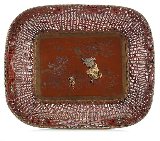 A bronze tray with mixed metal decoration Meiji period (late 19th century)