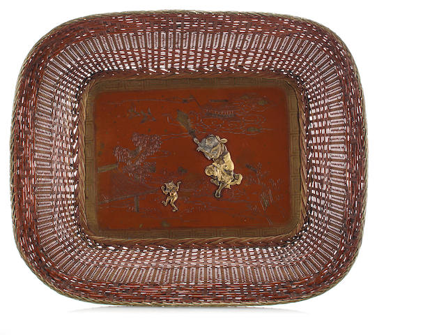 A bronze tray Late 19th century
