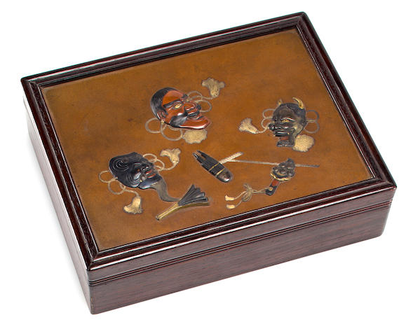 Wood box with bronze inlaid masks
