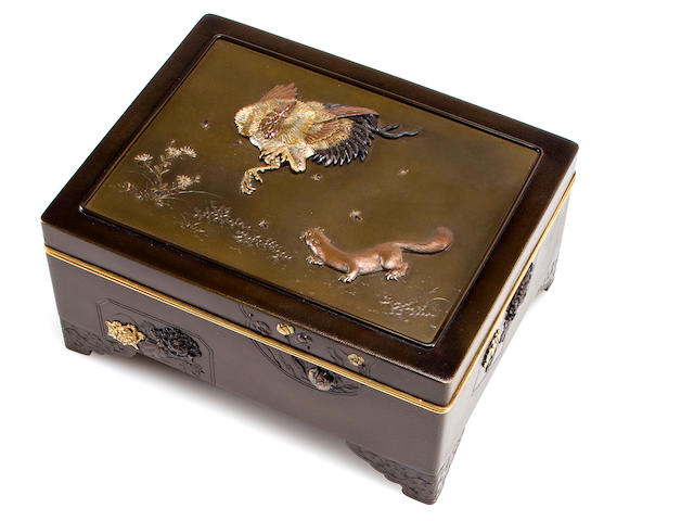 Bronze covered box with rooster