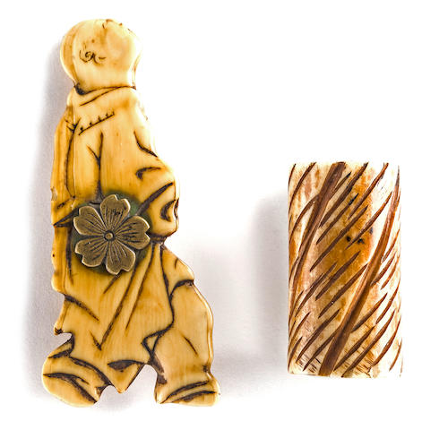 An ivory netsuke and a bone netsuke 19th century