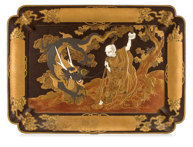 Lacuer and ivory tray with immortals, late 19th century