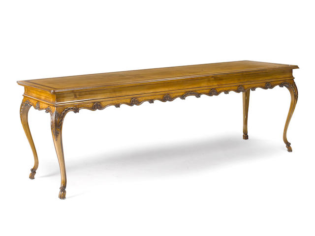 An Italian Rococo style inlaid fruitwood library table<BR /> 20th century