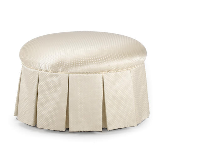 A Contemporary ivory upholstered ottoman
