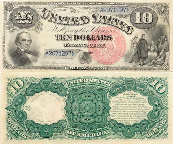 Fr. 104, Series 1880 $10 Legal Tender Note. Large Red Plain Seal