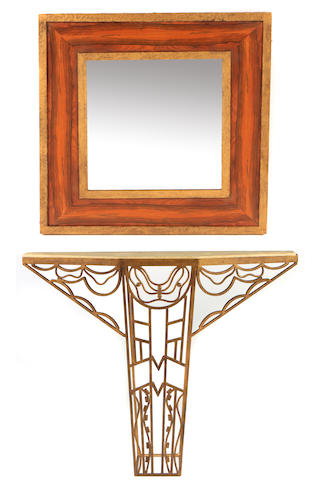 An Art Deco style wrought iron console and a mirror