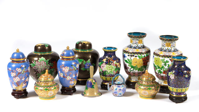 An assembled group of twelve cloisonné articles