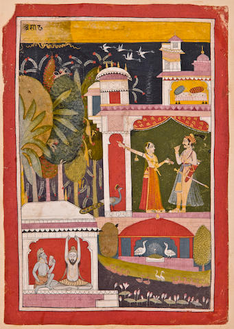 An Illustration to a Bharamasa Series: Asadha Opaque watercolor and gold on paper, Malwa, circa 1725