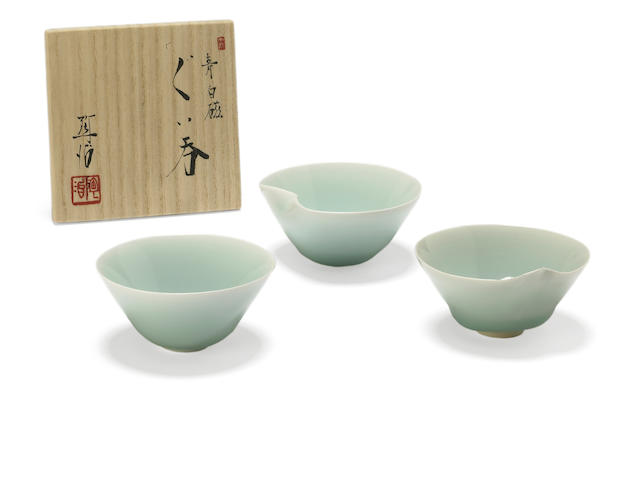 Three celadon porcelain cups<BR />By Fukami Sueharu (b. 1947)