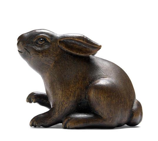 A boxwood figural netsuke<BR />By Sakai Masami (b. 1937), after 1980