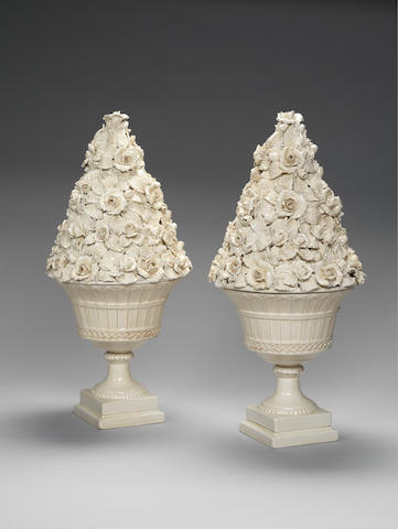 A pair of large cream glazed ceramic coupes surmounted by roses Bassano, Italy c 1950