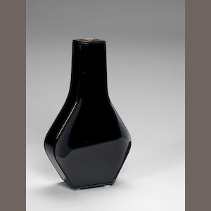 A cut and polished  mirrored glass and lacquered metal vase Fontana Arte, Italian c 1959