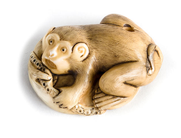 Ivory monkey and octopus, by Shoko, 19th century