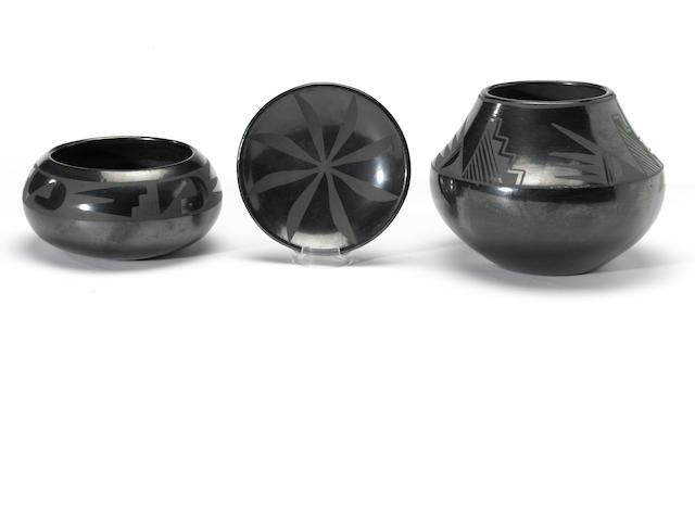 Three San Ildefonso blackware items